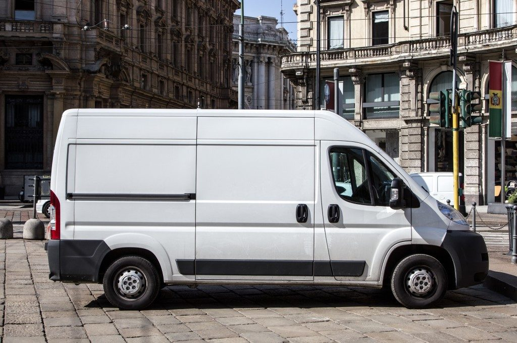 White sprinter van parked on the streets