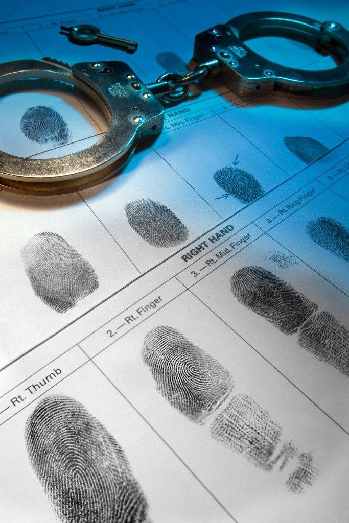 Handcuffs and fingerprint records