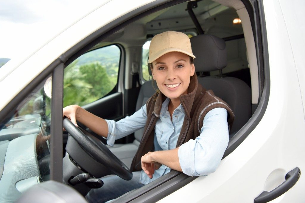 Woman test driving a sprinter van