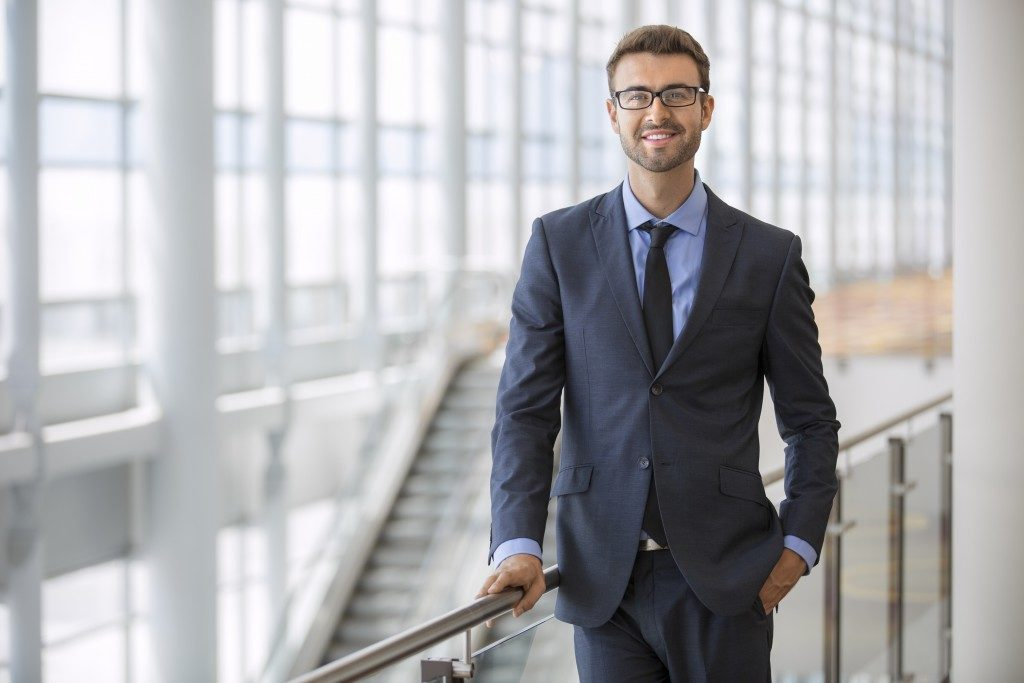 Businessman smiling confidently