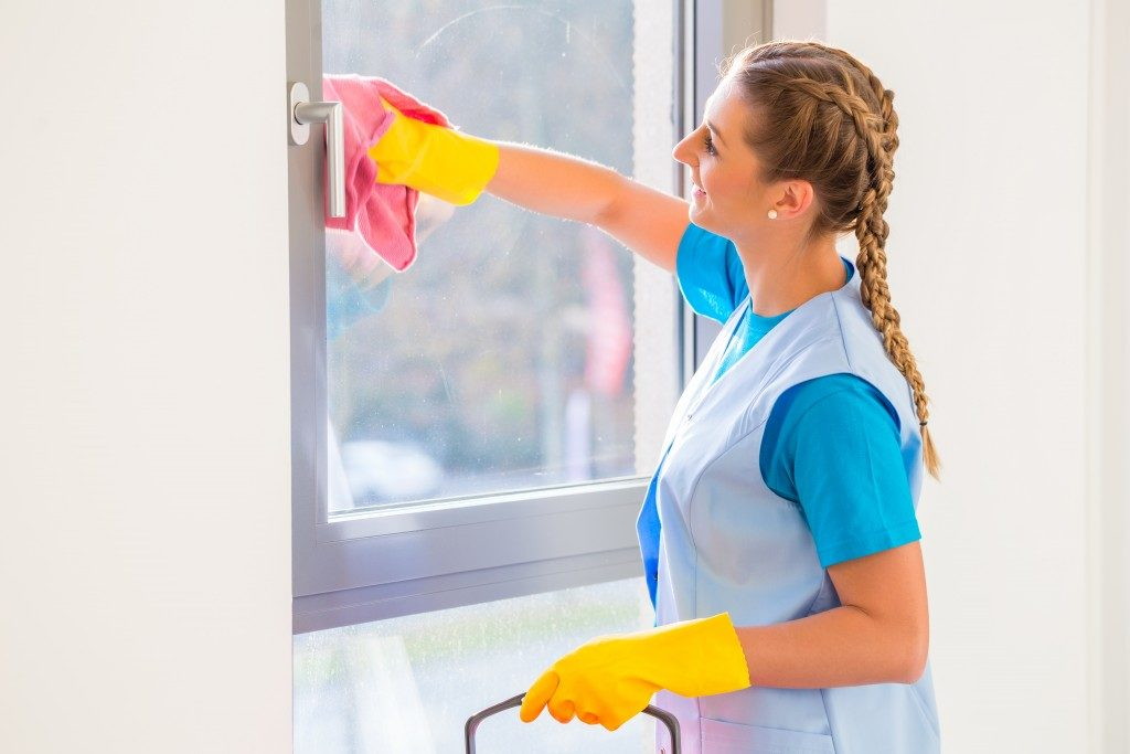 Cleaning lady with wiping window