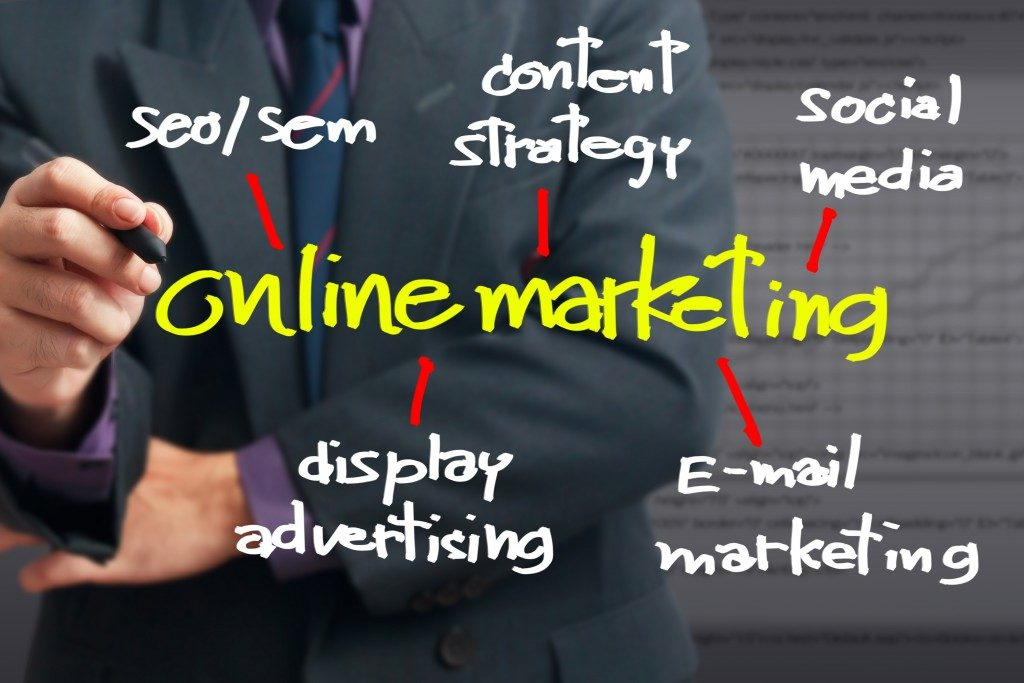 Businessman pointing at On line Marketing word for On line business concept
