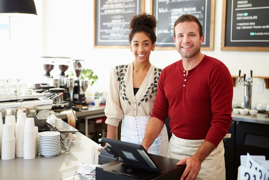business partners in a coffee shop