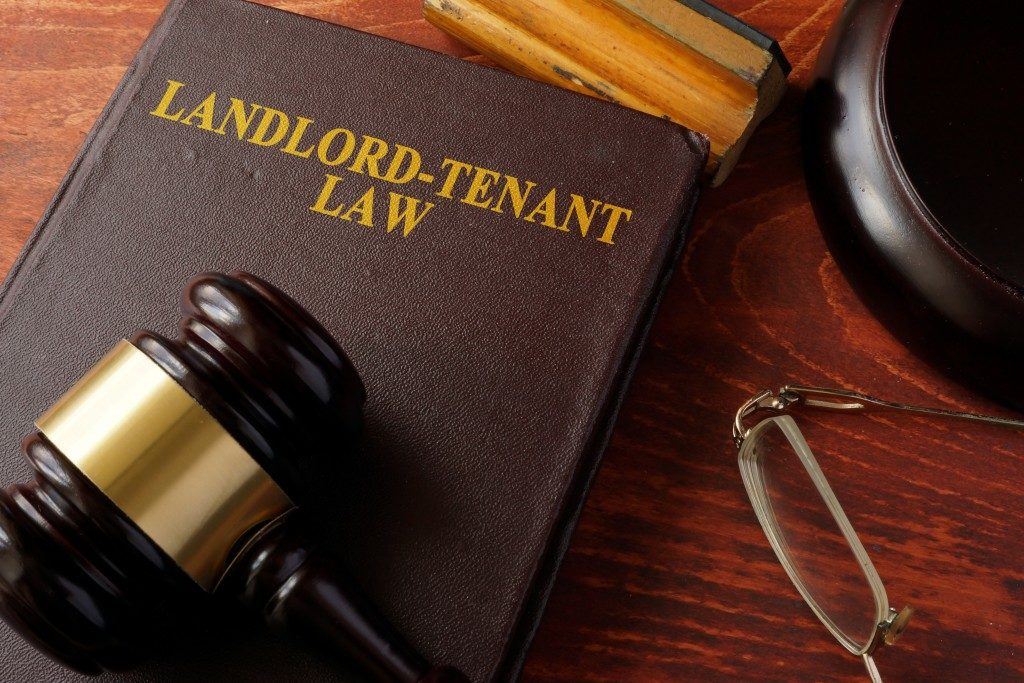 Book with Landlord-Tenant Law title and gavel