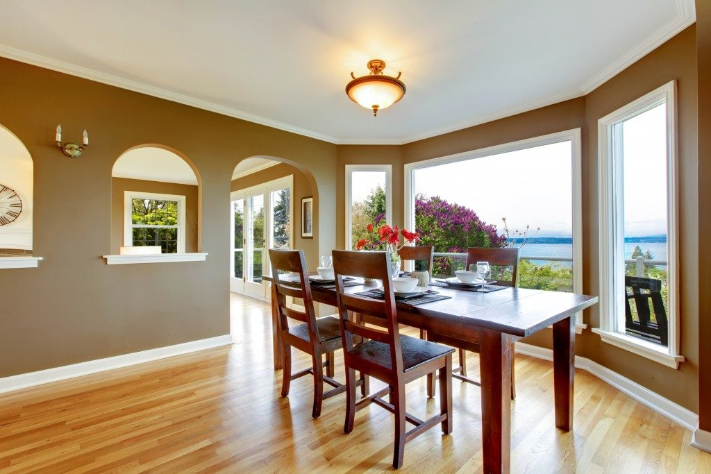 Dining room with brown walls
