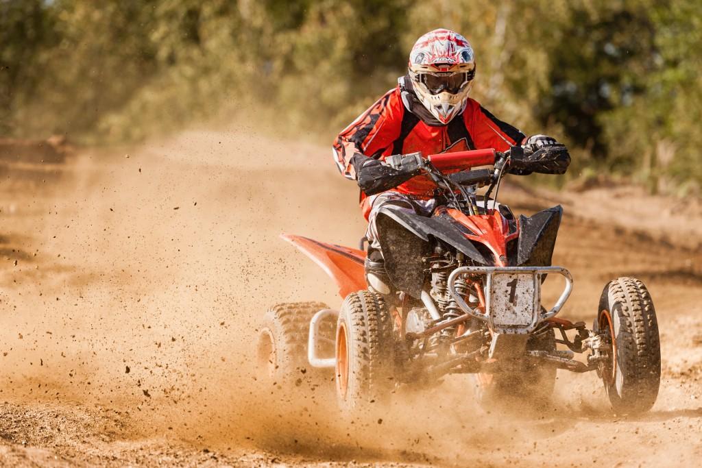 biker on the dirt road