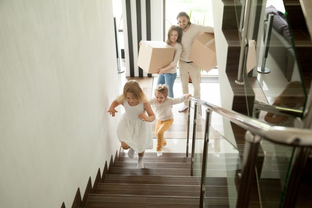 children running in the stairs