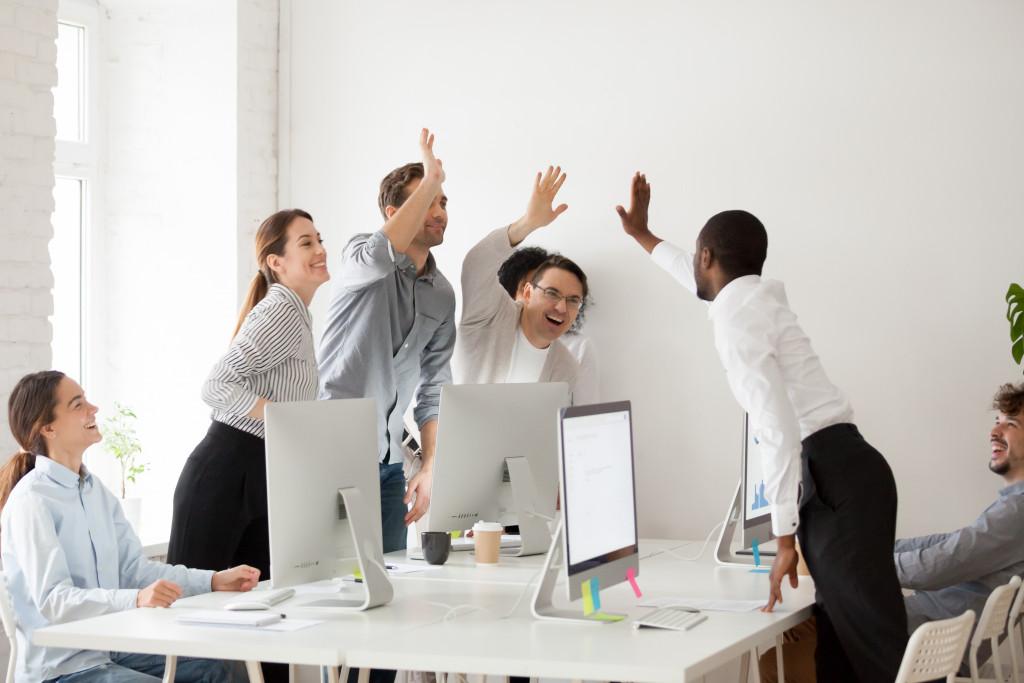 employees celebrating