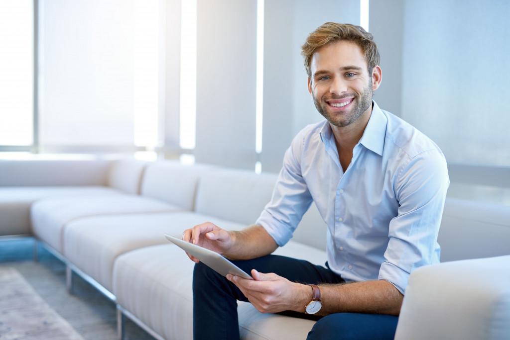 entrepreneur using a tablet