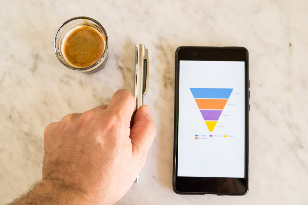 coffee, pen, and sales funnel